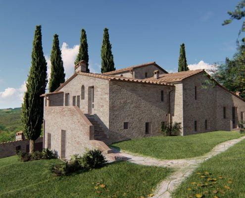 Redering di un casale venduto in Toscana.