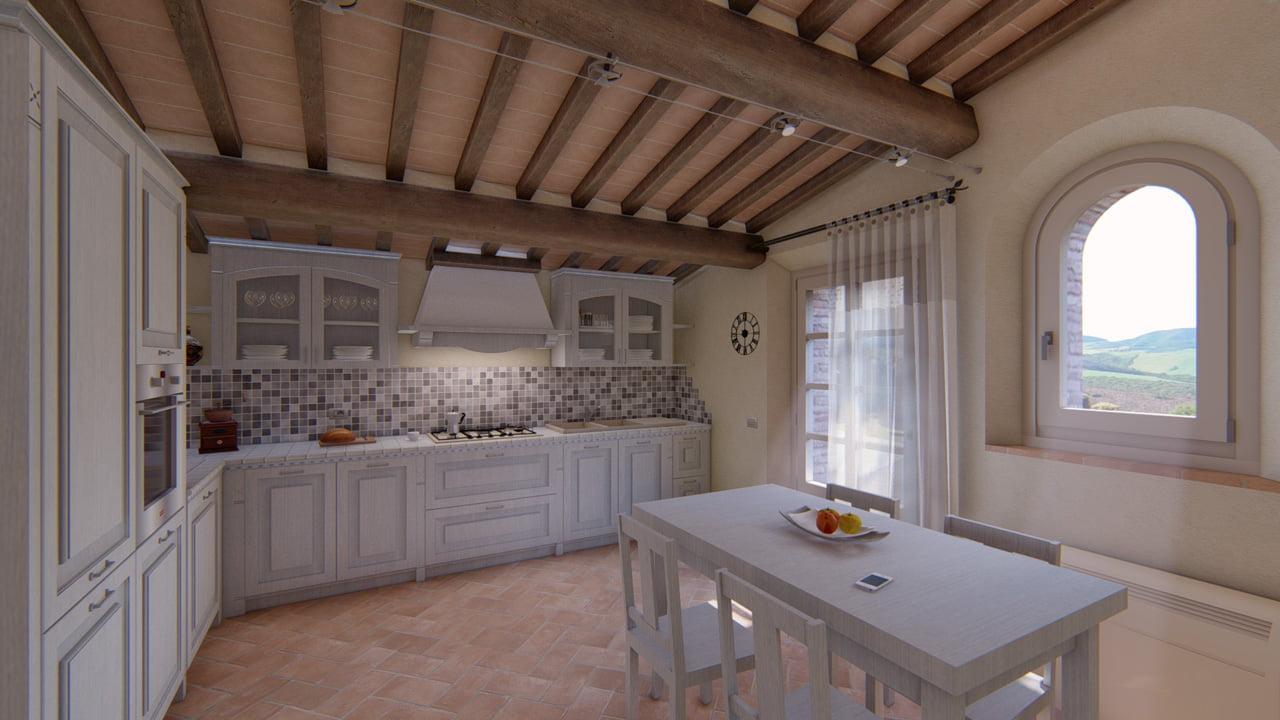 Rendering di un casale venduto in Toscana.