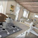 Rendering interno casa privata in Toscana
