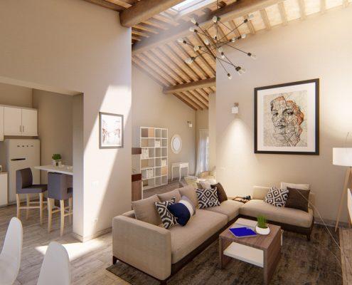 Rendering di un appartamento venduto a Firenze.