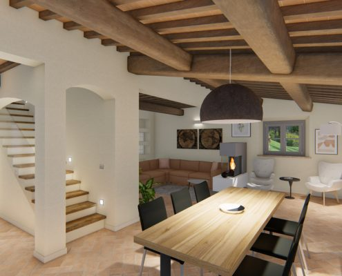 Sala pranzo di un nuovo casale in vendita in Toscana.